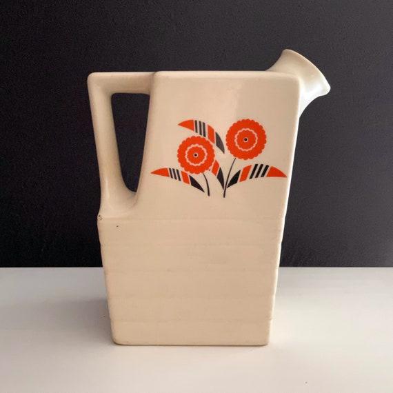 Vintage Pitcher Seminole Pattern 1940s Universal Potteries Off White Orange Graphic Floral Brown Accents No Cork Stopper