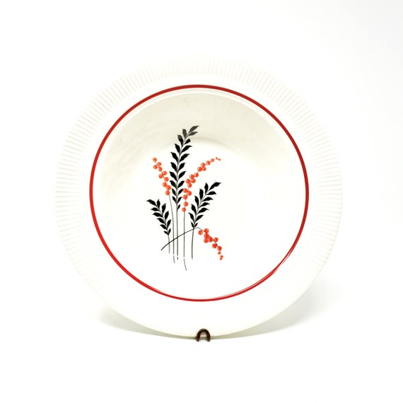 Vintage Serving Bowls White Red Black Salem Victory White and Currant Pattern Parkway 1930s
