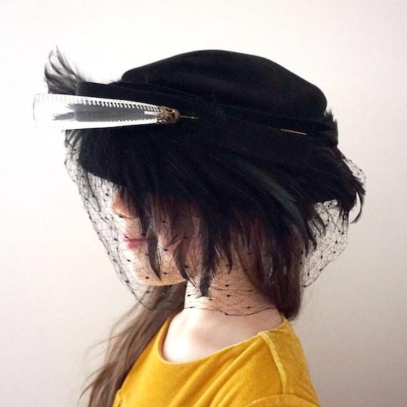 Vintage Fancy Hat 50s Black Velvet Feathers Tam Hat Sculptural Mesh Face Veil Bow Clear Large Lucite Hat Pin on a Beret Style Hat Small Brim