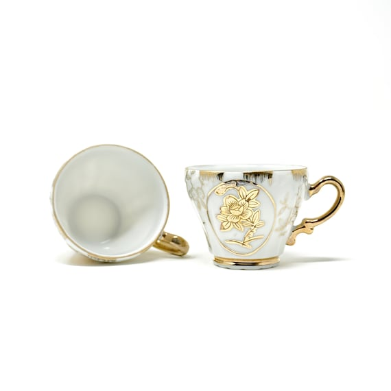 Vintage Demistasse Cups Pair Gold Floral on White China Tiny Tea Cups Gold Handles