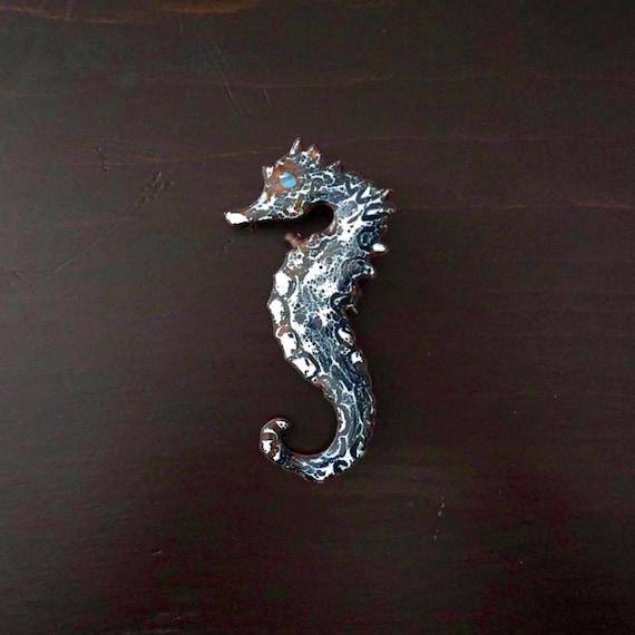 Vintage Seahorse Brooch Enameled Metal Pin Blue White Marbled Enamel on Copper Jewelry Nautical Ocean Sea Life Brooch Enamel Mid Century