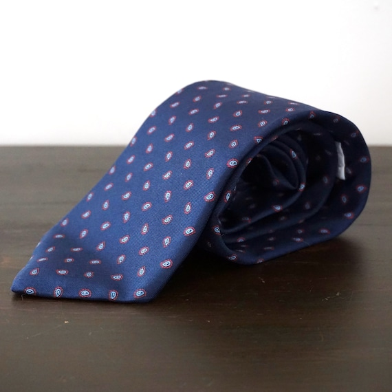 Vintage Tie Yves Saint Laurent Neckwear Silk Necktie Blue Tiny Paisley Print Red Tie Repeating Simple Patterned Neck Tie