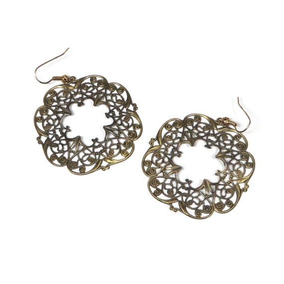 Vintage Filigree Earrings Brass Toned Ornate Hoops 1970s