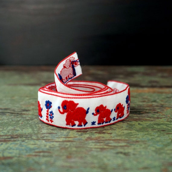 "Vintage Ribbon Embroidered Elephants Red on White Blue Daisies Jacquard Cut 42"" Length of Trim Ribbon Elephant Family of Three Over 1 Yard"