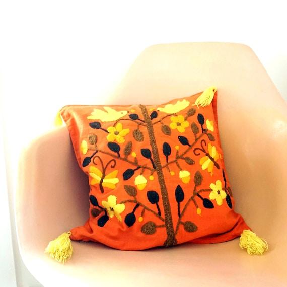 Vintage Toss Pillow Orange Tree Of Life Bird Butterflies Crewel Work Yarn Stitched Browns Yellow Tassels Small Pillow Feather Insert Zipper