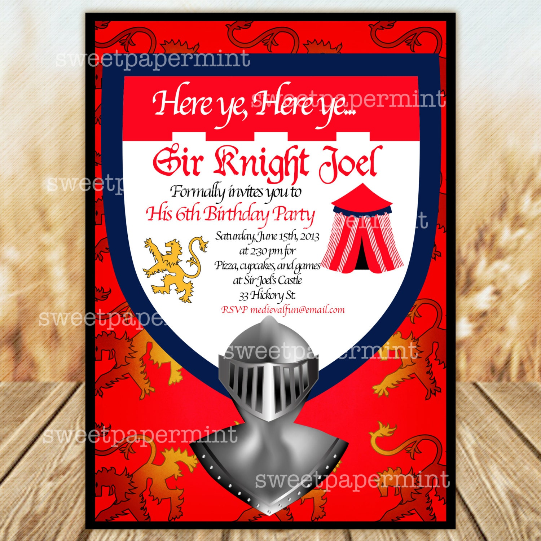 Medieval Caballero castillos cumpleaños fiesta invitación real | Etsy