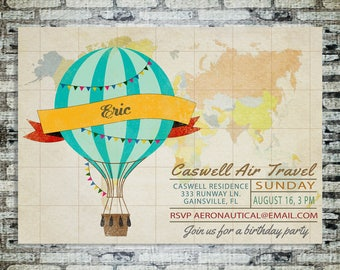 Hot Air Balloon Vintage Birthday Party Invitation - Digital Printable Card