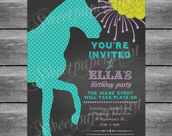 Equestrian Horse Birthday Invitation Card - Aqua Chalkboard Sign Cards - Customizable