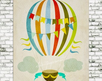 Hot Air balloon Vintage Sign ~ Artwork ~ Decorative Printable