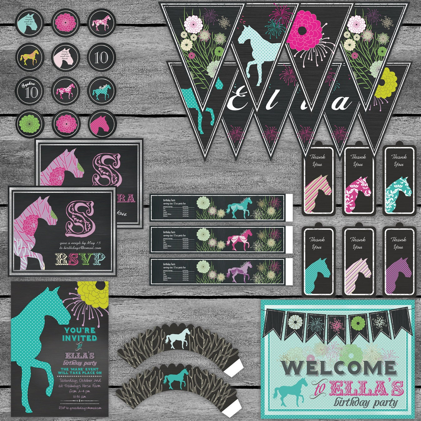 Horse Equestrian Birthday Banner Party Set - Chalk Chalkboard - all  occasion - Customizable - printable digital