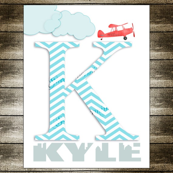 Airplane Name Wall Decor Monogram Initial Letter