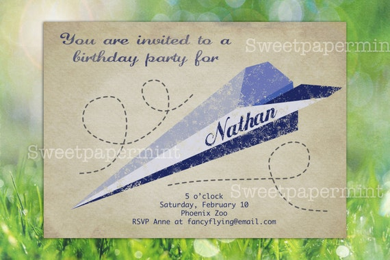 Paper Airplane Birthday Party Invitation Card