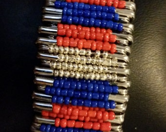 Red, Blue, and Silver safety pin bracelet