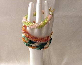 Crochet Beaded Bangle Bracelets