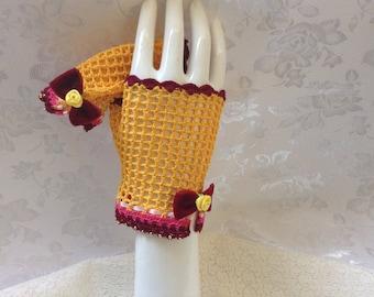 Golden and Ruby Steampunk Lolita Fingerless Gloves