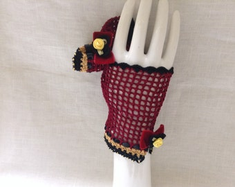 Red and Black Steampunk Fingerless