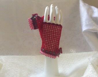 Red Velvet Cake Steampunk and Lolita Fingerless Gloves