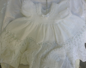 Beautiful Crochet Lace Infant Christening Gown Set