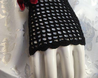 Red and Black Steampunk & Goth Fingerless Gloves