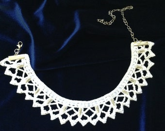 White Wedding Lace Victorian Necklace