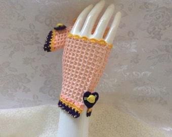 Steampunk Lolita Fingerless Gloves in Peaches and Cream