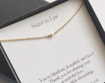 Sister In Law Necklace Gift Tiny Pearl Future Wedding Birthday