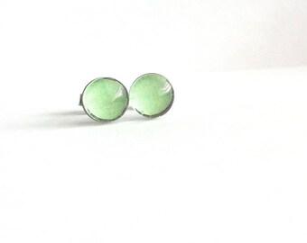 1dcc17ffa Mint Green Stud Earrings, Mint Green Earrings, Sea Foam Green Earrings,  Small Stud Earrings, Dainty Earrings, Sensitive Ears, Gift Under 20
