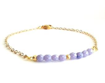 Purple Amethyst Beaded Bar Bracelet, Gold Thin Bracelet, Dainty Friendship Bracelet, Dainty Gold Bracelet, Delicate Gold Bracelet