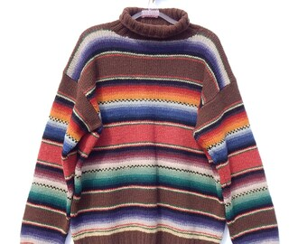 0e74cd6db2 RALPH LAUREN COUNTRY ~ Ladies Navajo Indian Stripped Southwestern  Turtleneck Thick Knit Sweater~L