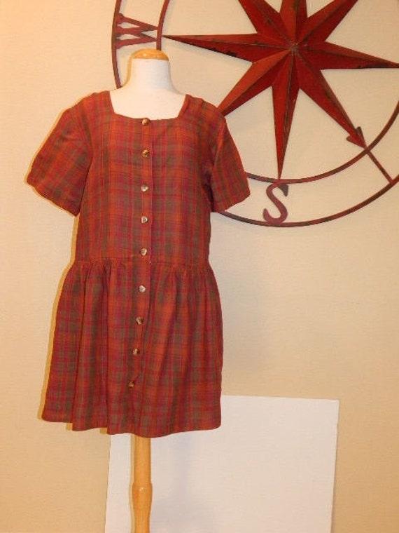 MADRAS Plaid Indian Summer Oversized Romper Dress