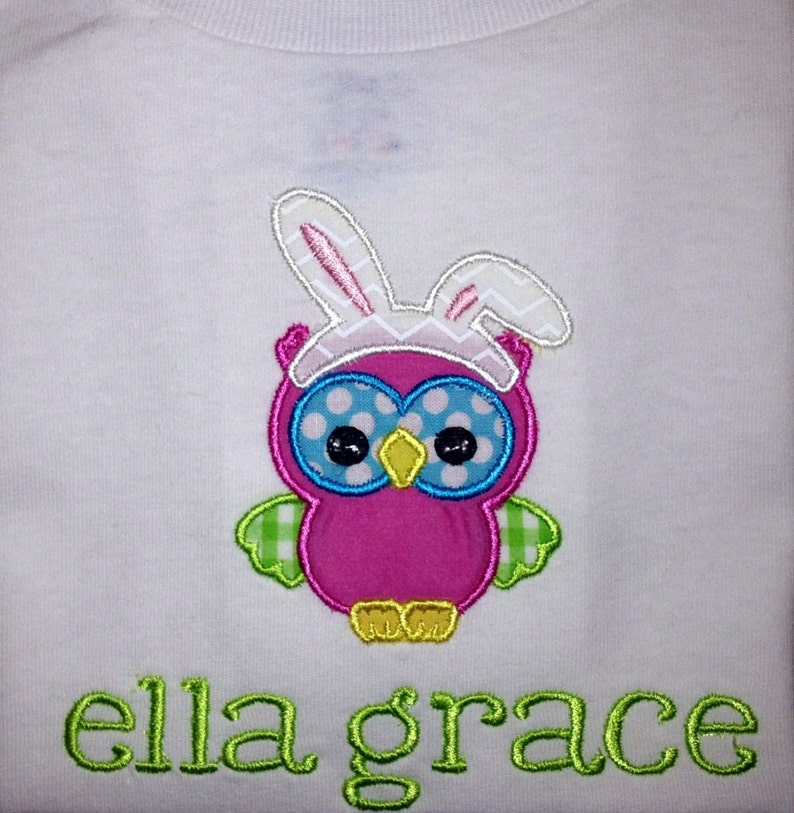 Children/'s Baby Infant Happy Easter Bunny Owl Short or Long Sleeve White Onesie with Embroidered Personalized Name