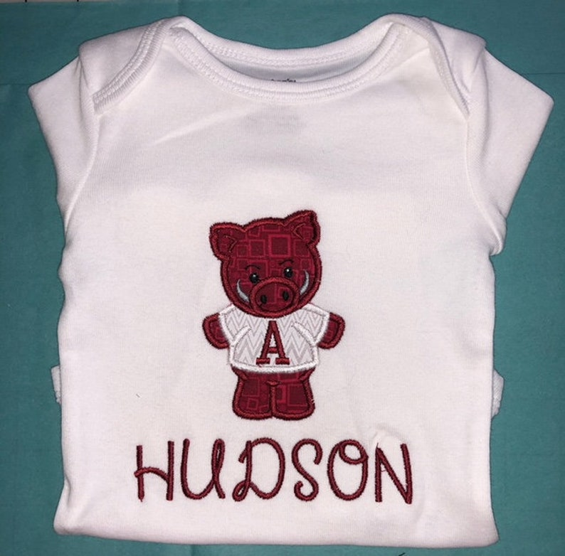 Baby Infant PigHog Mascot Applique with Personalized Name on a Short or Long Sleeve White Onesie
