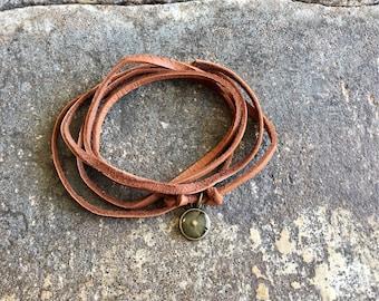 Tiny Bronze Round Mustard Seed Faith Camel Leather Wrap Bracelet