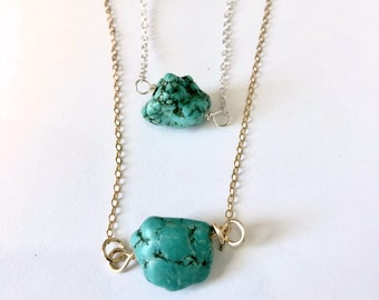 Turquoise Nugget Necklace / Gold or Silver Turquoise Nugget