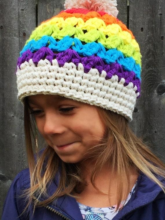 Mädchen Häkelhut Regenbogen Hut Kinder Mütze Häkeln Baby Etsy