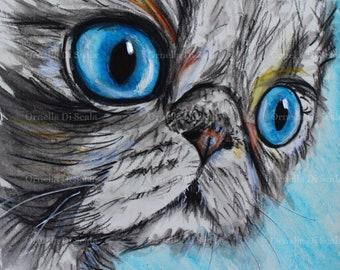 Cat portrait watercolor original artwork