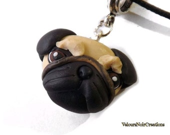 Pug dog necklace polymer clay