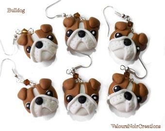 english bulldog earrings handmade in polymer clay