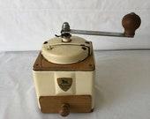 Vintage Coffee Grinder, Peugeot Freres, Beige, Rustic, Antique Coffee Mill