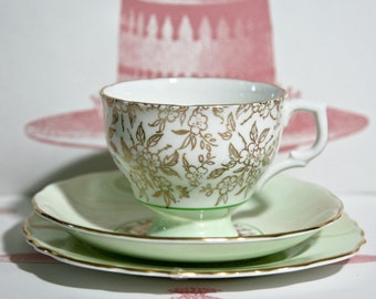 Vintage Soft Mint Green and Gilt Teacup, Saucer and Cake Plate