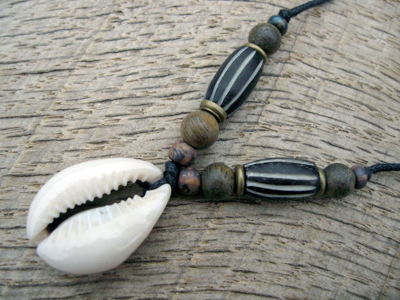 Collier Coquillage Os Bois DeEtsy Pour Cauri Pendentif Homme En IW2HED9
