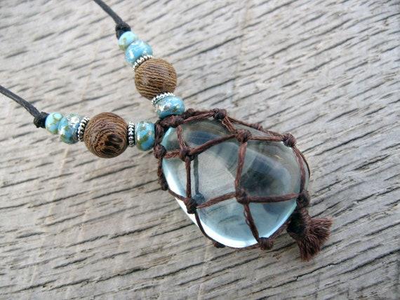 Macrame Necklace Blue Andara Crystal Netted Stone Czech Etsy