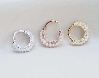Opal/CZ Clicker Daith Earring, Septum Ring, Philtrum Ring, CZ Hoop Piercing, Cartilage, Clicker Ring, Helix Earring, Eternity Hoop