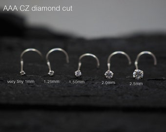 Tiny CZ diamond STERLING SILVER nose ring / Nose Stud / Nose Screw
