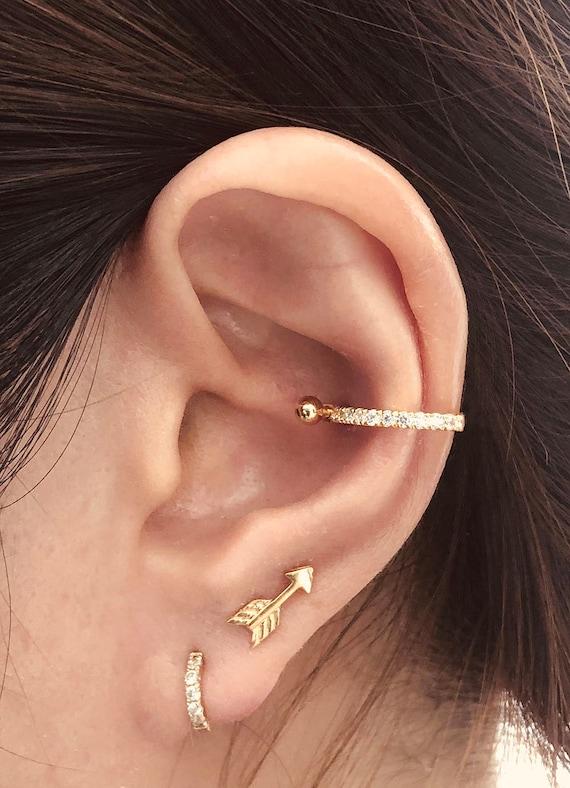 Thin Eternity Cz Diamond Conch Hoop Earring Orbital Piercing Etsy