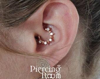 Five CZ diamond CLICKER hoop Daith earring / Cartilage Piercing / Septum ring / Nose ring/Helix Piercing