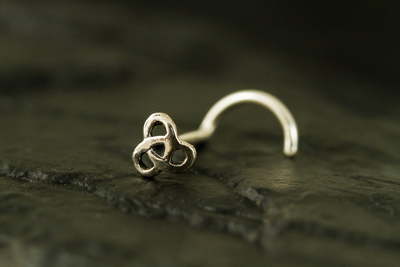 Mini celtic sterling silver nose stud  nose screw  nose ring