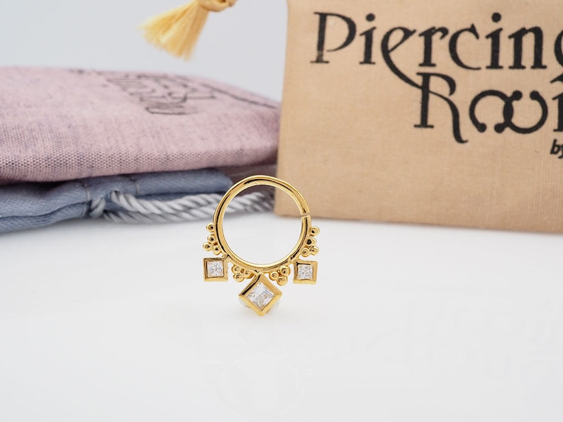 SQUARE CZ diamond hoop Daith earring  Cartilage  Septum ring  Nose ring