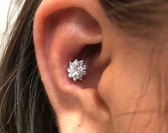 Stunning big Gems flower CZ diamond cut (8.6mm) sterling silver SCREW flat back conch/cartilage/helix/conch/lobe piercing