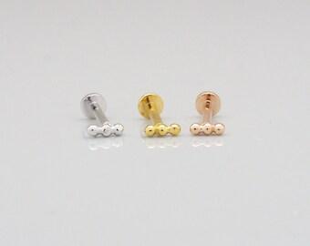 Three Ball SCREW Flat Back Tragus Piercing, Cartilage Earring, Helix Earring, Monroe Piercing, Forward Helix piercing